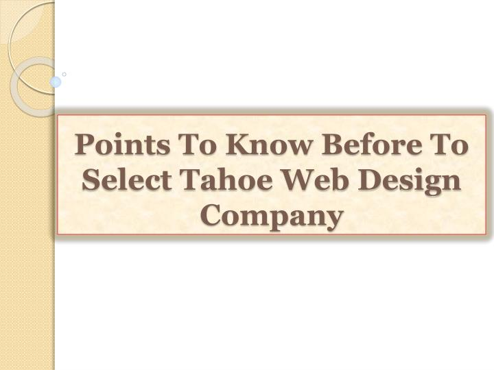 points to know before to select tahoe web design company n.