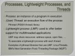 processes lightweight processes and threads