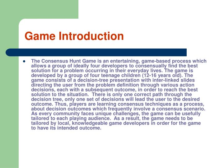 game introduction n.