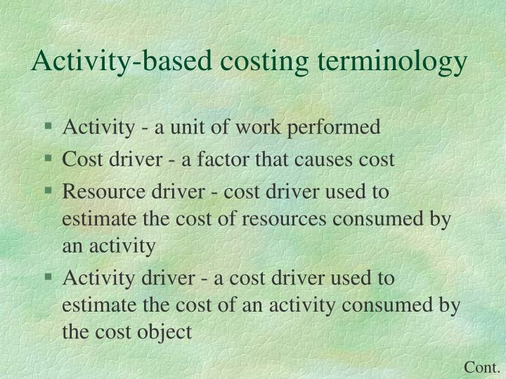 Activity based costing terminology