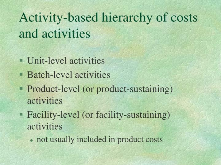 Activity-based hierarchy of costs and activities