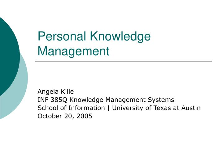 personal knowledge management n.