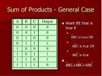 sum of products general case
