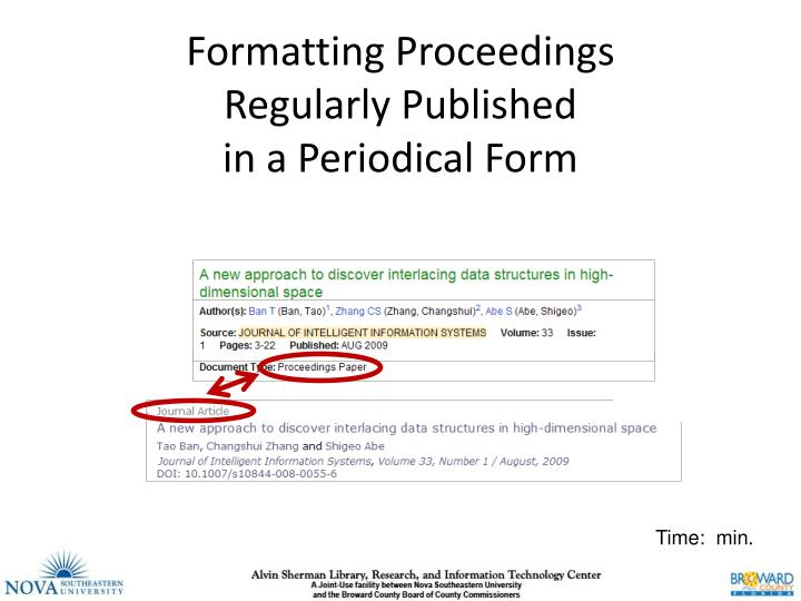 formatting proceedings regularly published in a periodical form n.
