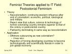 feminist theories applied to it field postcolonial feminism