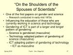 on the shoulders of the spouses of scientists