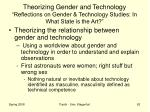 theorizing gender and technology reflections on gender technology studies in what state is the art