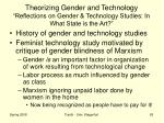 theorizing gender and technology reflections on gender technology studies in what state is the art1