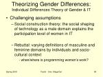 theorizing gender differences individual differences theory of gender it