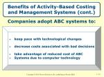 benefits of activity based costing and management systems cont