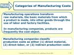 categories of manufacturing costs