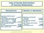 cost of goods sold section of income statements