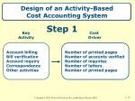 design of an activity based cost accounting system1