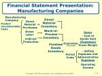 financial statement presentation manufacturing companies
