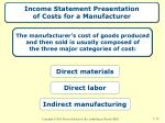 income statement presentation of costs for a manufacturer