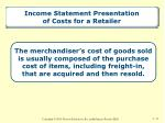 income statement presentation of costs for a retailer
