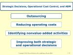 strategic decisions operational cost control and abm