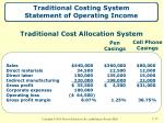 traditional costing system statement of operating income