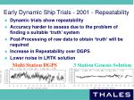 early dynamic ship trials 2001 repeatability