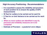 high accuracy positioning recommendations