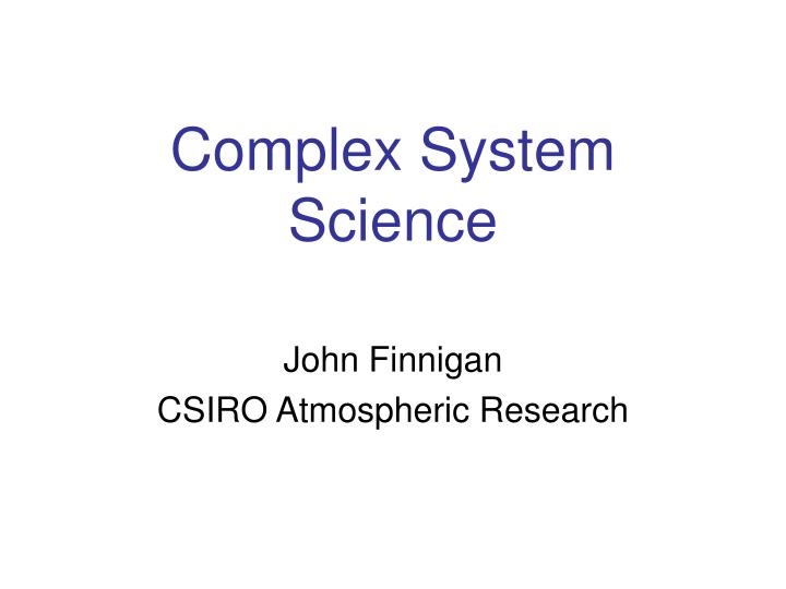 complex system science n.