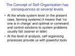 the concept of self organisation has consequences at several levels