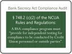 bank secrecy act compliance audit