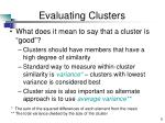 evaluating clusters