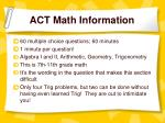 act math information