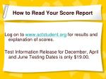 how to read your score report