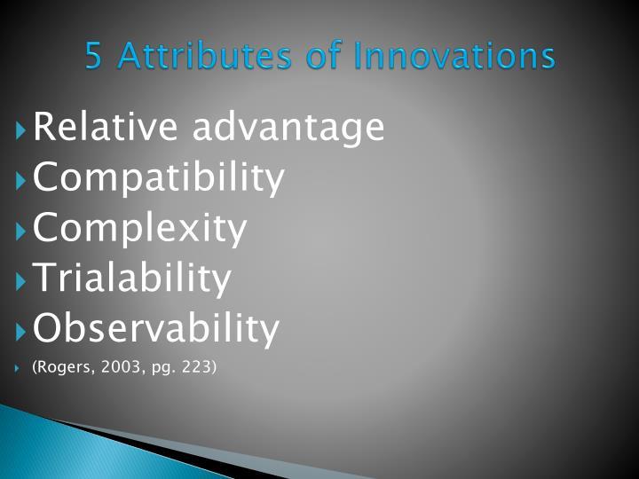 5 Attributes of Innovations