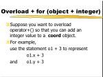 overload for object integer