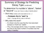 summary of strategy for predicting decay type continued2