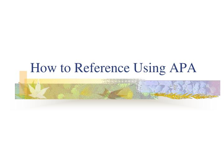 how to reference using apa n.