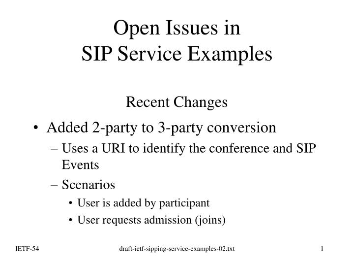open issues in sip service examples recent changes n.