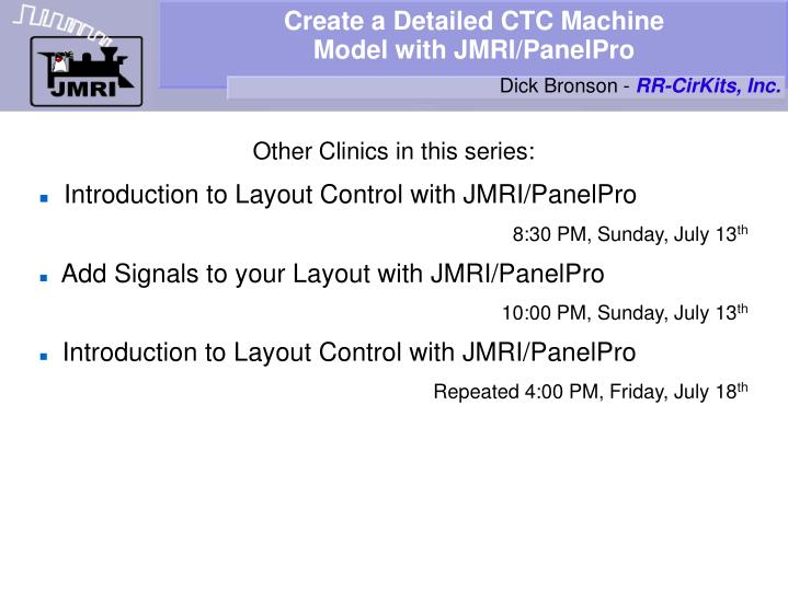 create a detailed ctc machine model with jmri panelpro n.