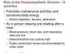role of the parasympathetic division d activities