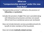what are companionship services under the new final rule