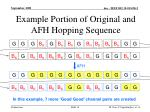 example portion of original and afh hopping sequence