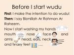 before i start wudu