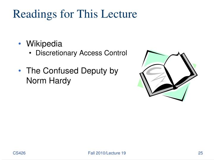 Readings for This Lecture