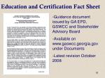 education and certification fact sheet