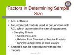 factors in determining sample size