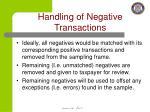 handling of negative transactions