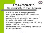 the department s responsibility to the taxpayer