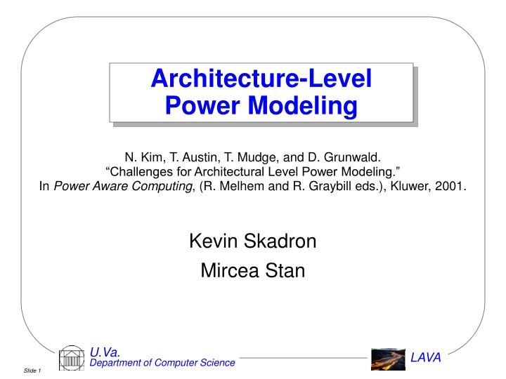 architecture level power modeling n.