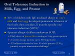 oral tolerance induction to milk egg and peanut
