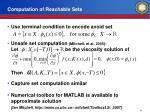 computation of reachable sets
