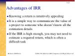advantages of irr