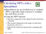 calculating npvs with a spreadsheet